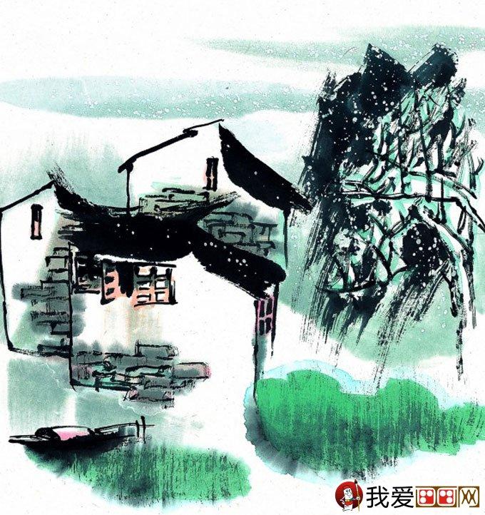 山水水墨画:江南水乡冬天彩墨国画风景图片(39)