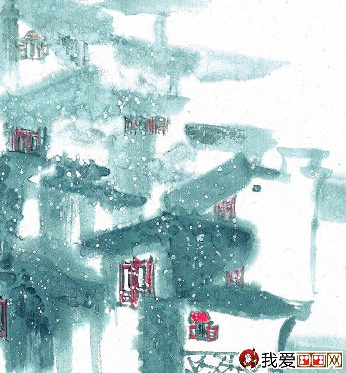 山水水墨画:江南水乡冬天彩墨国画风景图片(40)