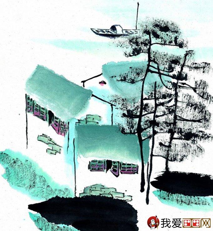 山水水墨画:江南水乡冬天彩墨国画风景图片(41)