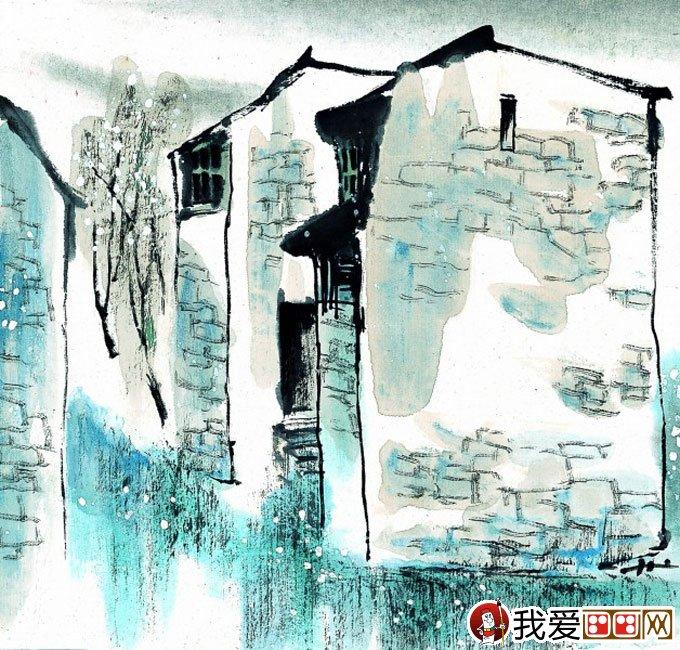 江南水乡冬天彩墨国画风景图片50副高清大图(15)