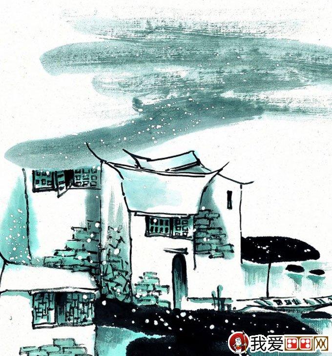 山水水墨画:江南水乡冬天彩墨国画风景图片(45)