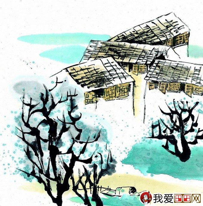山水水墨画:江南水乡冬天彩墨国画风景图片(49)