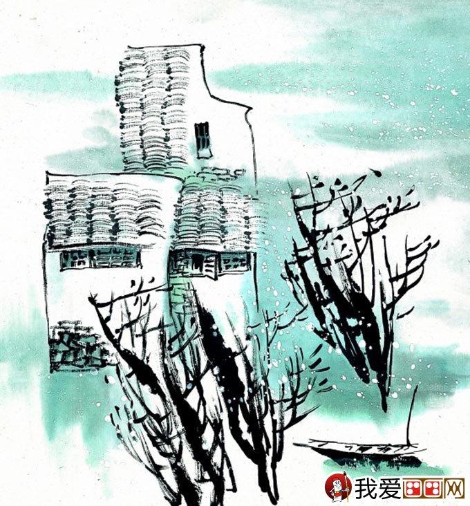 山水水墨画:江南水乡冬天彩墨国画风景图片(50)