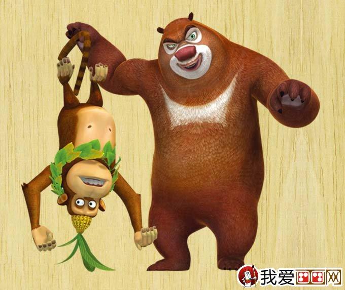 动画片《熊出没》中的角色卡通画06:抓住了小猴子