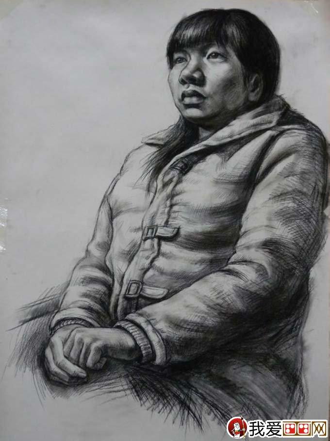 女性人物素描半身像绘画教程及高考美术素描训练注意要点(3)
