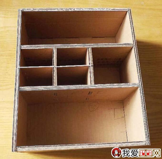 废物利用手工制作教程:用废旧纸箱纸手工制作收纳柜(3