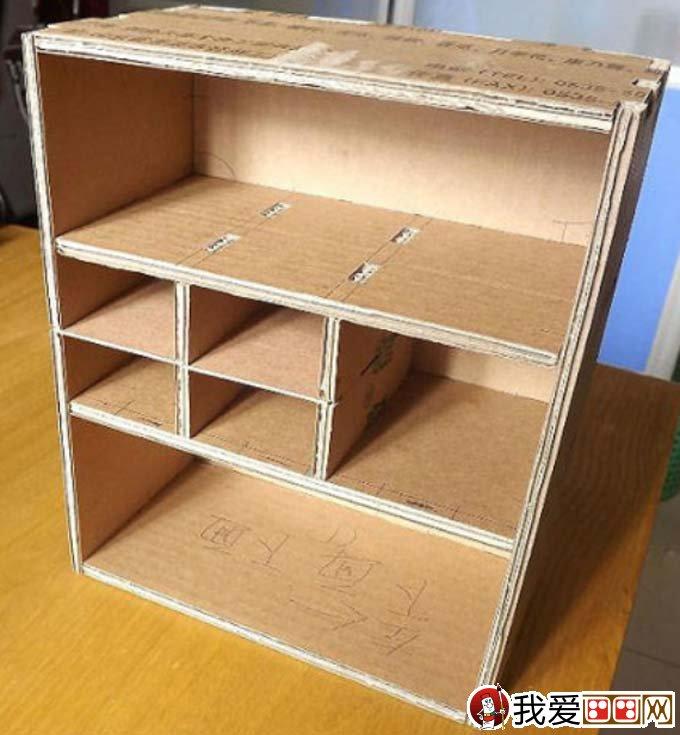 废物利用手工制作教程:用废旧纸箱纸手工制作收纳柜(2