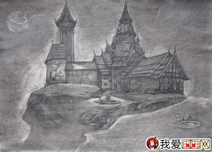 初中科幻画获奖作品_我的家(黑白素描古堡科幻画)