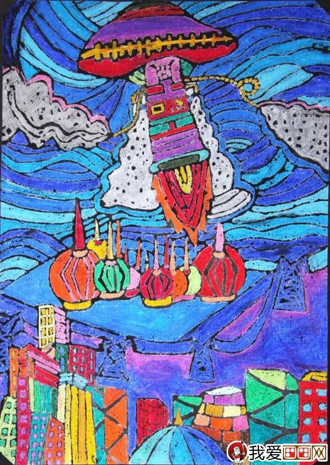 儿童画大全图片一等奖-初中科幻画获奖作品 腾飞 太空科技飞船科幻画