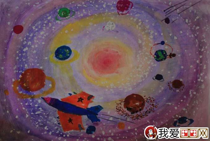 儿童水粉画作品欣赏-美丽浩瀚星空