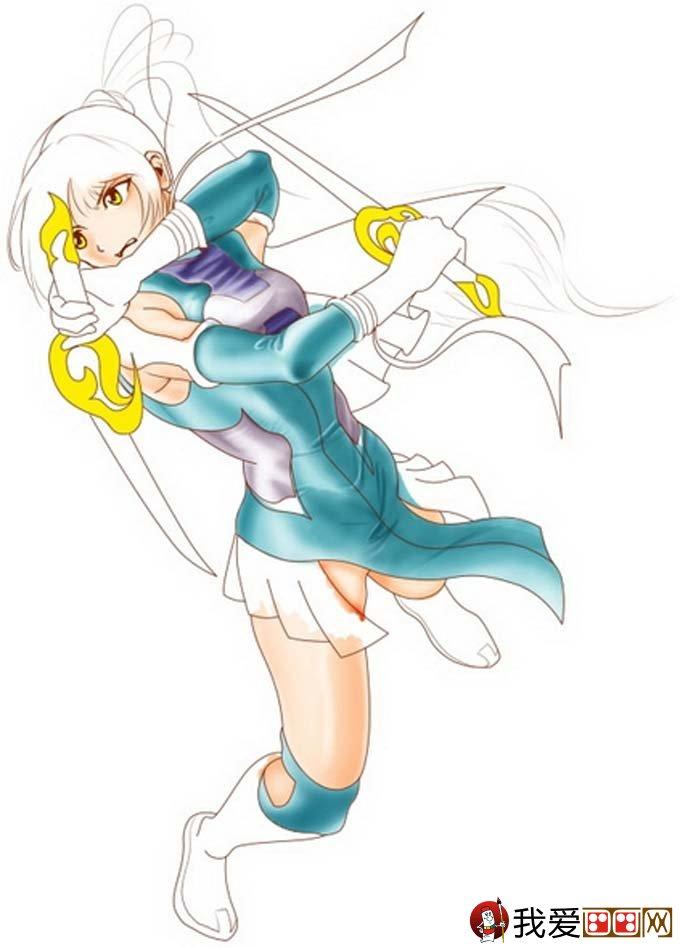 卡通人物画教程:风格女斗士绘画步骤3,绘制衣服