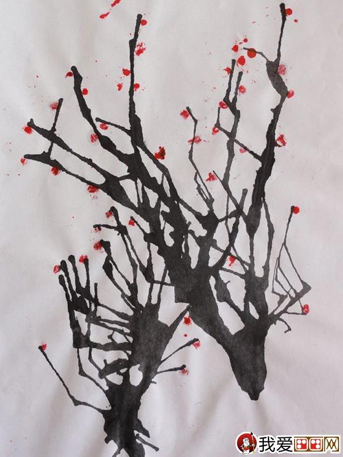儿童美术考试绘画作品《吹墨画梅花》