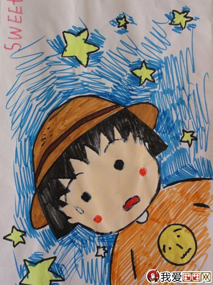 儿童美术考试绘画作品品《卡通小男孩》图片