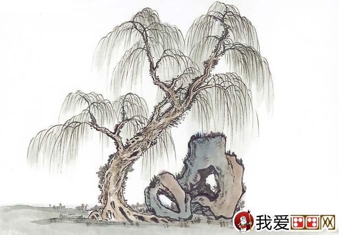 水墨画柳树图片13P 各种国画杨柳的国画水墨画法图片