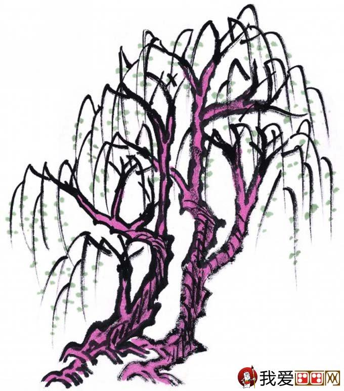 水墨画柳树图片13P 各种国画杨柳的国画水墨画法 2图片