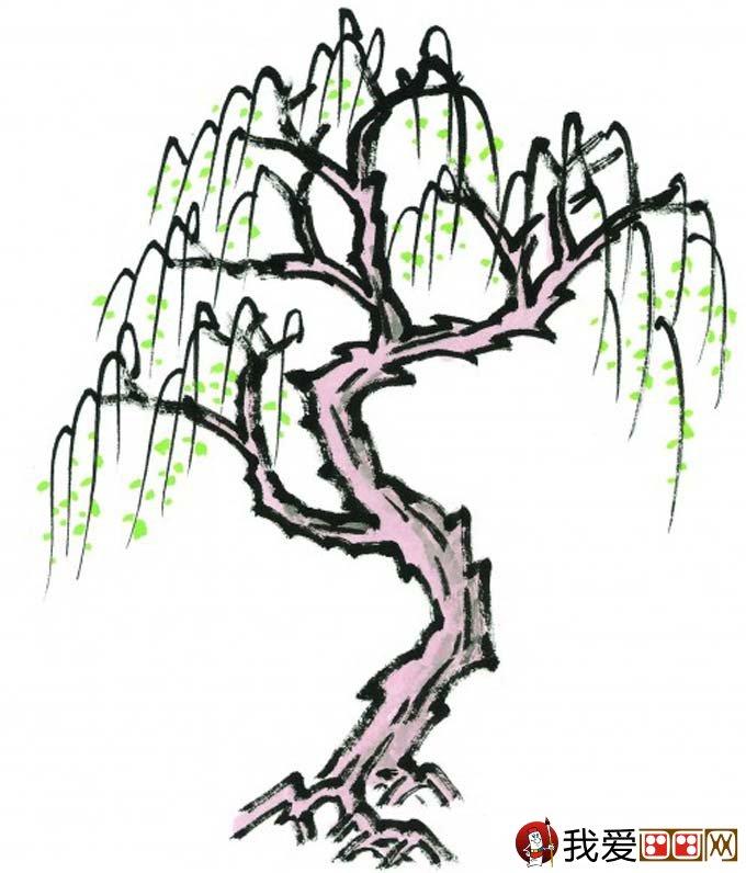 水墨画柳树图片13p 各种国画杨柳的国画水墨画法(3)