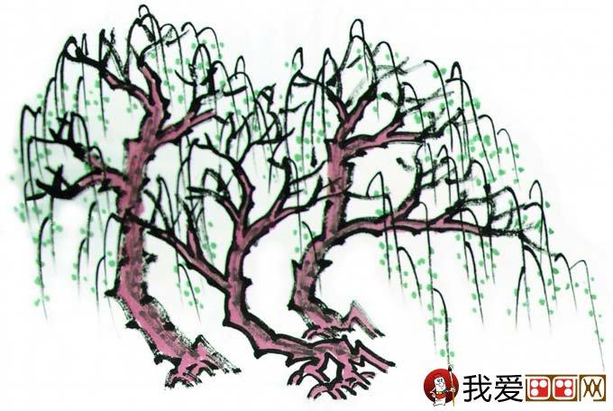 水墨画柳树图片13P 各种国画杨柳的国画水墨画法 3图片