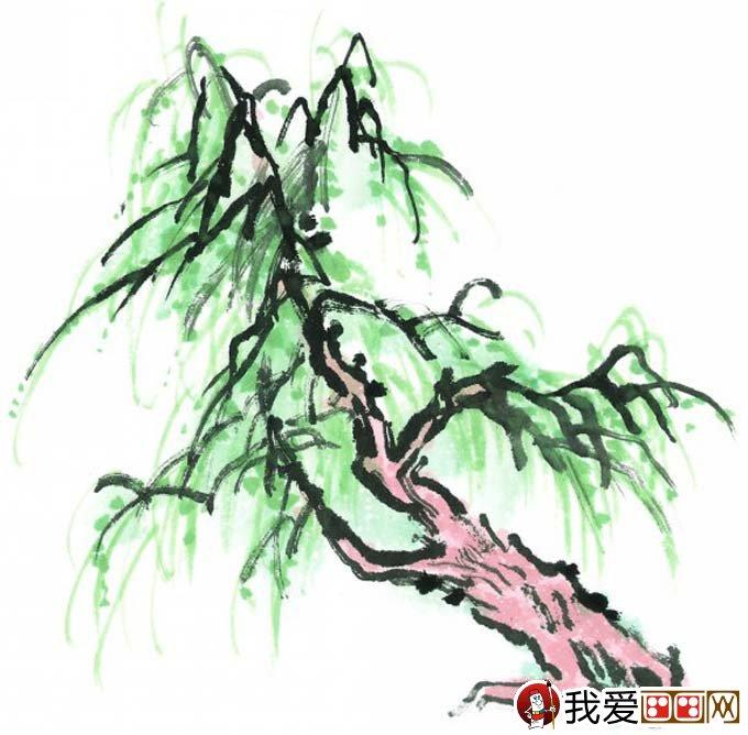 水墨画柳树图片13P 各种国画杨柳的国画水墨画法 4图片