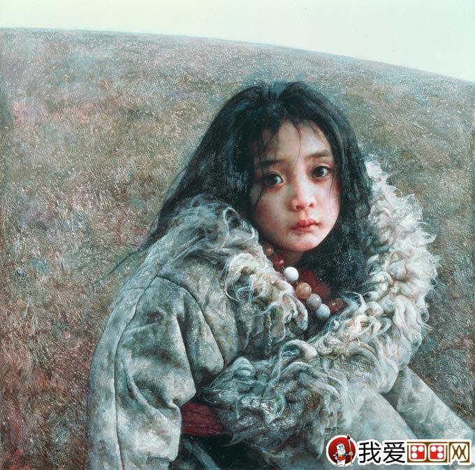 艾轩写实油画作品西藏女孩《微风撩动发梢》