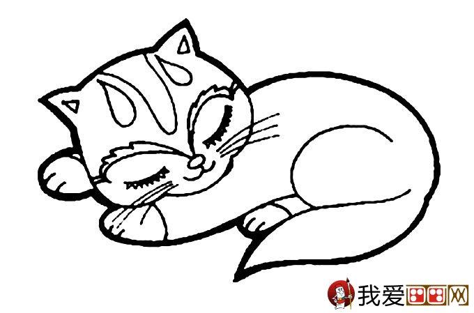 猫的简笔画大全 可爱动物简笔画猫图片16副图片