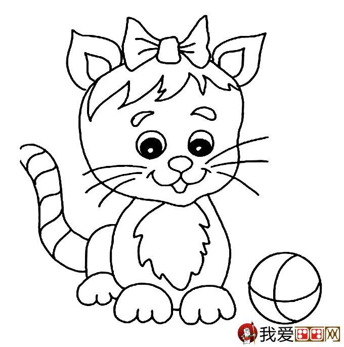 猫的简笔画大全 可爱动物简笔画猫图片16副