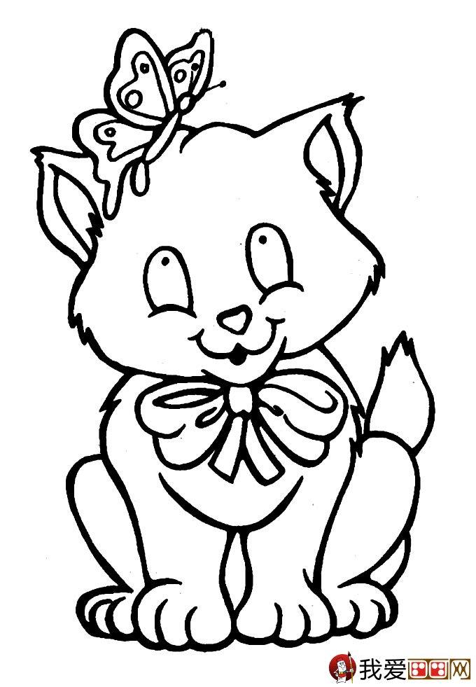 猫的简笔画大全 可爱动物简笔画猫图片16副(2)