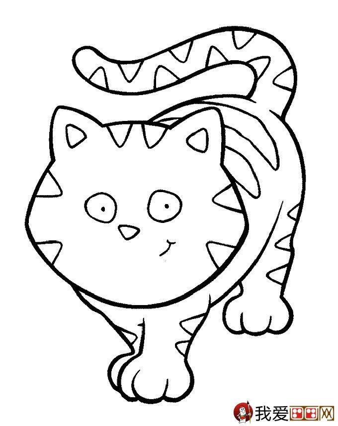 猫的简笔画大全 可爱动物简笔画猫图片16副(4)
