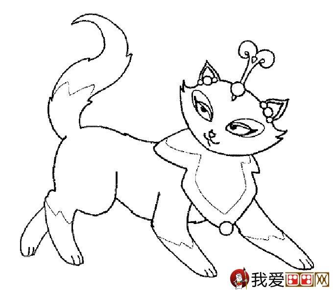 猫的简笔画大全:可爱动物简笔画猫图片(09)