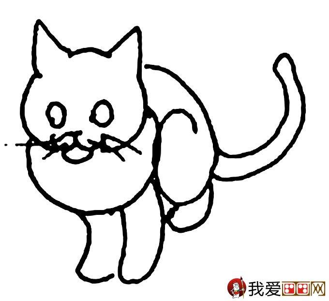 猫的简笔画大全 可爱动物简笔画猫图片16副(7)