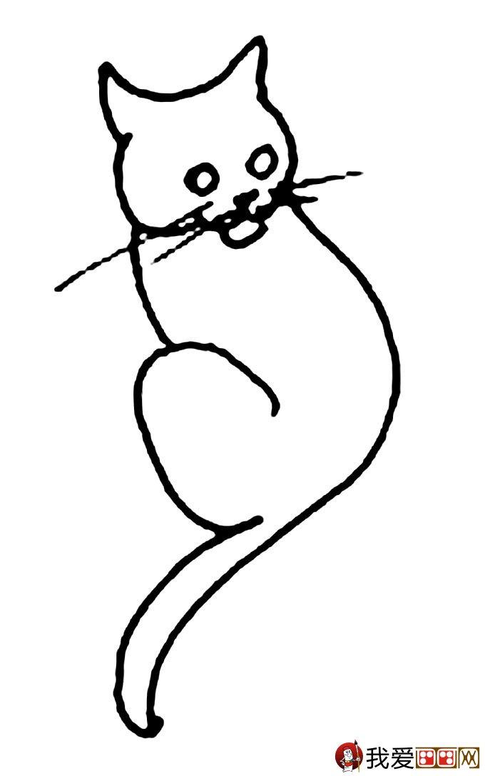 猫的简笔画大全 可爱动物简笔画猫图片16副(8)