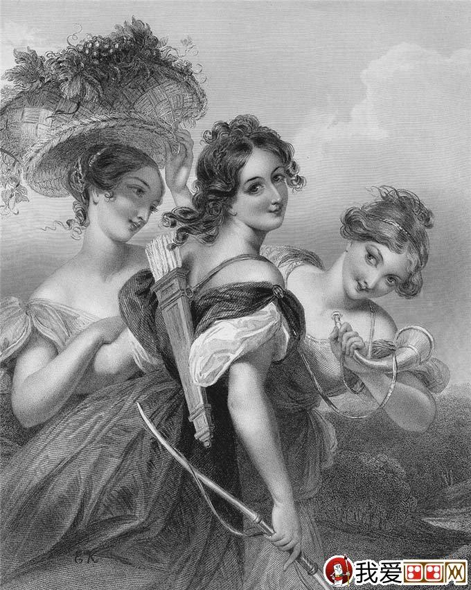 欧洲女性人物素描高清图:古典美女写实素描欣赏13p(7)