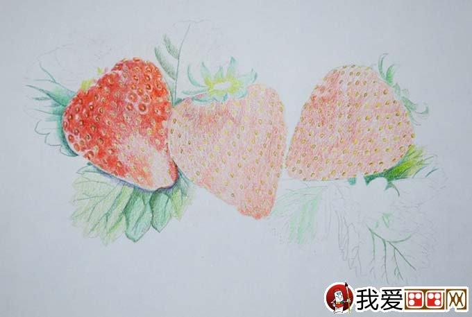 逼真的草莓彩色铅笔画教程绘画步骤2,平涂上色,草莓籽涂黄色.