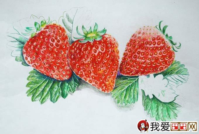 超写实草莓彩色铅笔画教程 逼真的草莓画法图文步骤 3