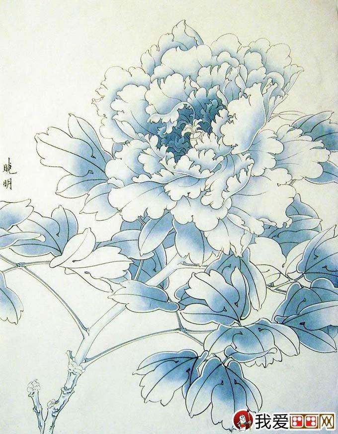 工笔画墨紫色牡丹绘画步骤