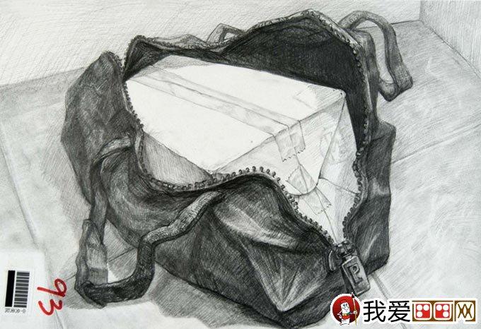 中国美术学院高考素描高分试卷:书包素描作品04
