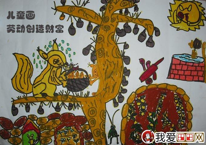 儿童画,这两幅儿童画都是关于五一劳动节的小学生 水彩画 绘画作品.图片