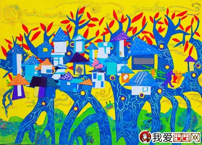 小学生科幻画一等奖:未来世界科幻画《树岛》-科幻画未来世界 绘画
