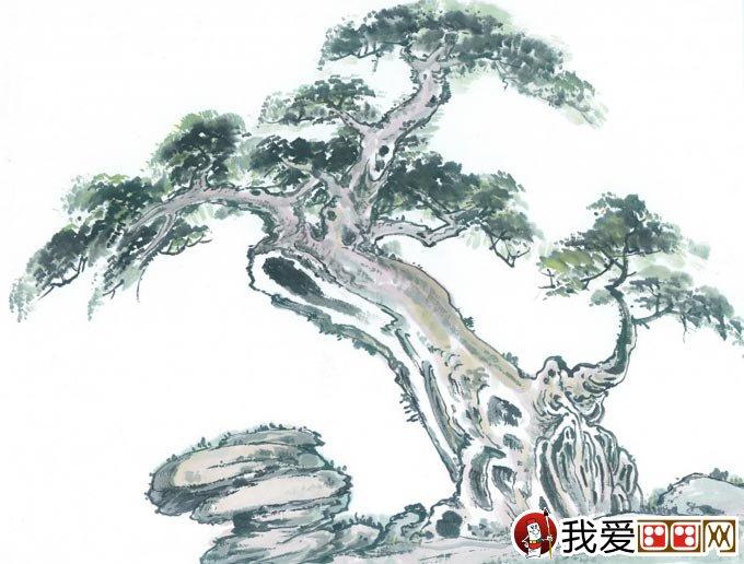 古树奇石图水墨画 枯树与假山奇石的国画组合图片29p
