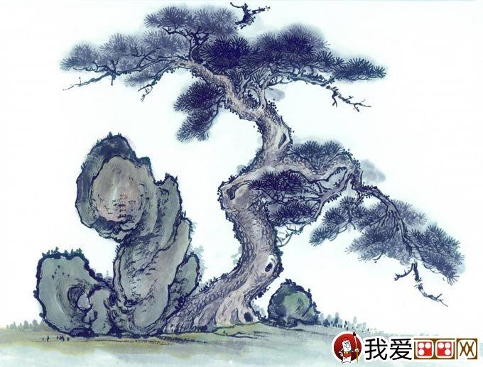 松树奇石图水墨画 松树与假山奇石的国画组合图片10p
