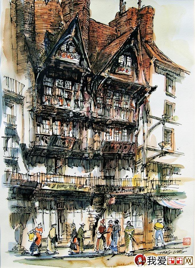 唐亮淡彩钢笔画作品:欧洲建筑钢笔画欣赏_世界名画
