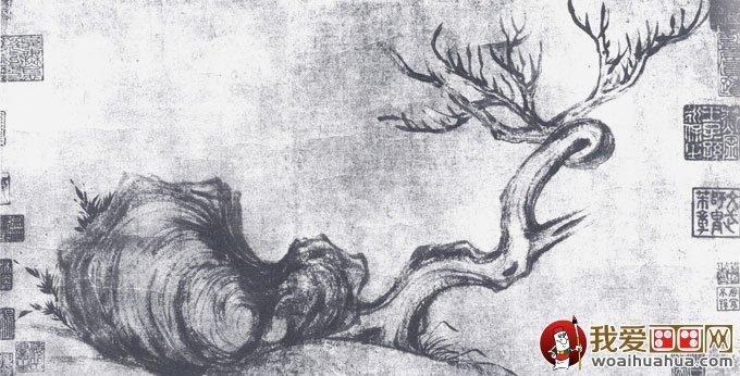 苏轼《古木怪石图》