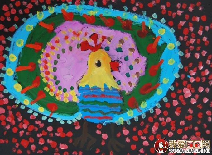 美丽的孔雀开屏儿童水粉画图片