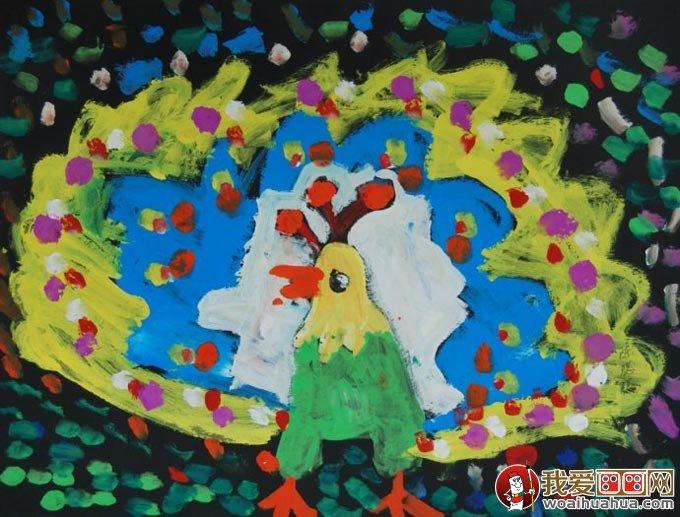 孔雀水粉儿童画,美丽的孔雀开屏儿童水粉画图片(03)-美丽的孔雀