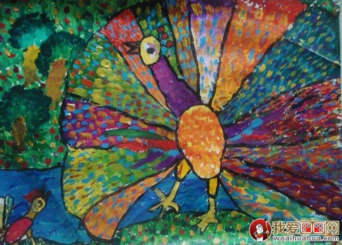 孔雀水粉儿童画,美丽的孔雀开屏儿童水粉画图片(04)-美丽的孔雀