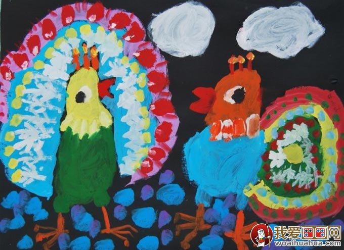 孔雀水粉儿童画,美丽的孔雀开屏儿童水粉画图片(05)-美丽的孔雀