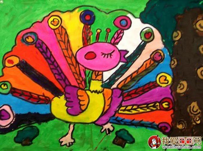 孔雀水粉儿童画,美丽的孔雀开屏儿童水粉画图片(06)-美丽的孔雀