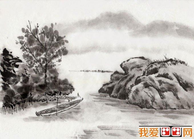 初学风景水墨山水画必看 简单的水墨山水画图片92副 15图片