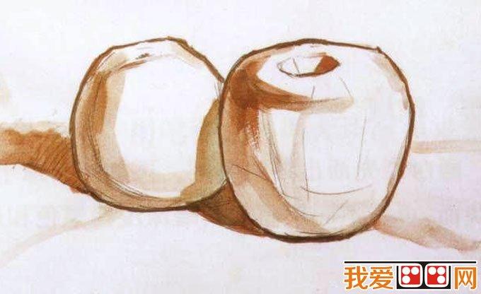 水粉画苹果桔子的画法教程01