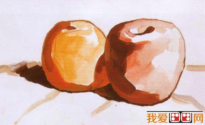 水粉画苹果桔子的画法教程02