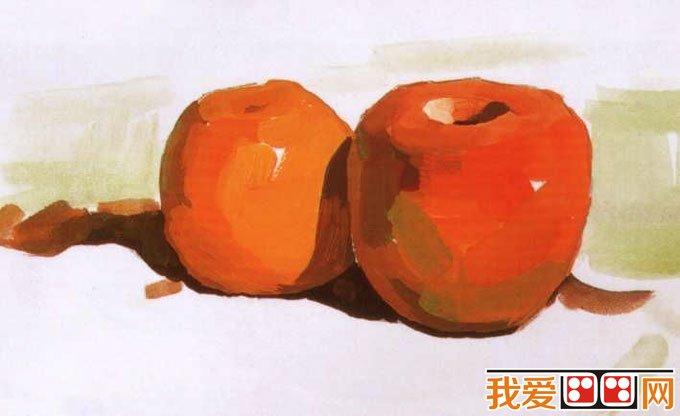 水粉画苹果桔子的画法教程03